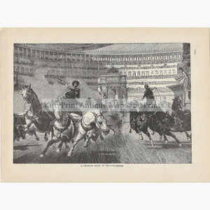 Antique Print Chariot Race in the Colosseum c.1880 Prints