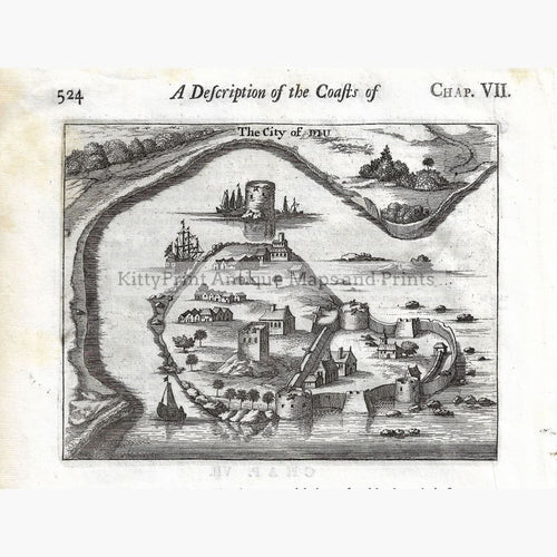 Antique Print City of Diu 1672 Prints
