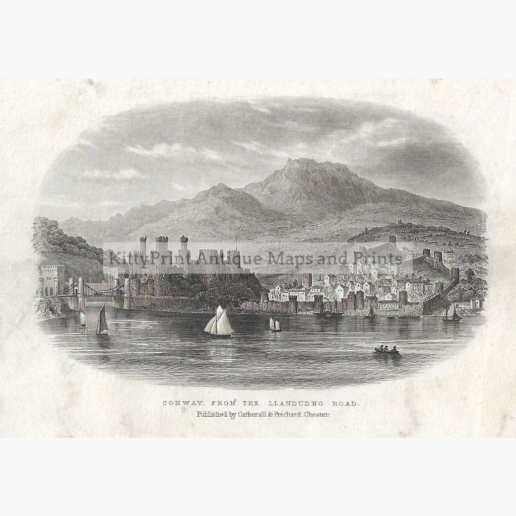 Antique Print Conway from the Llandudno Road 1855 Prints
