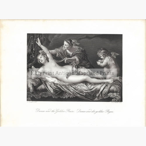 Antique Print Danae and the Golden Rain c.1840 Prints