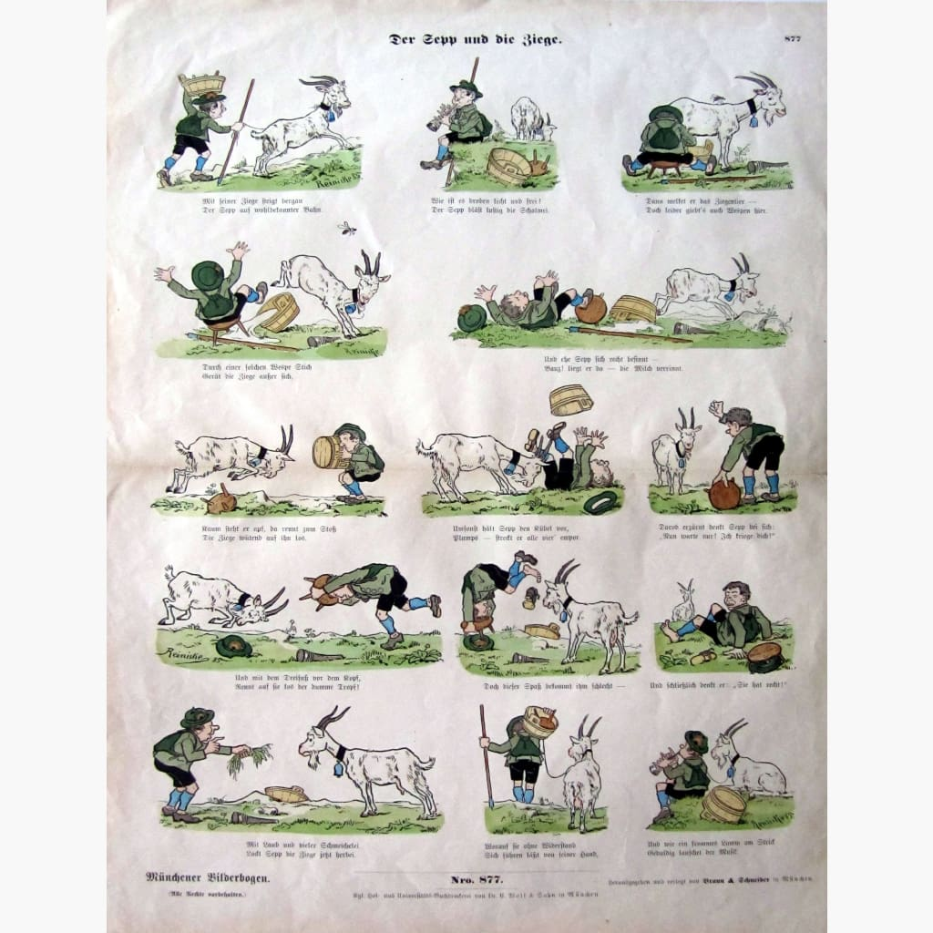 Antique Print Der Zepp und die Ziege Zepp and the Goat 1885 Prints