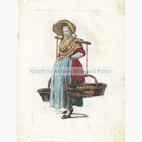 Antique Print Egg Woman c.1750 Prints