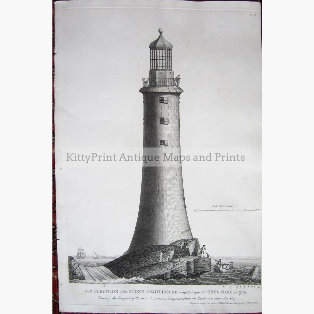 Antique Print Elevation of Stone Lighthouse on Edystone 1763 Prints