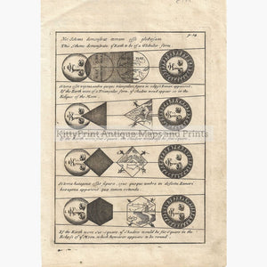 Antique Print Four Diagrams Of Solar Eclipses. 1711 Prints