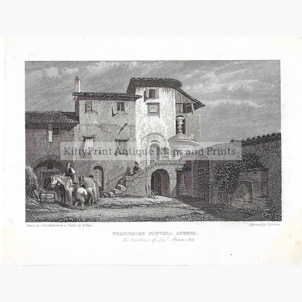 Antique Print Franciscan Convent Athens 1811 Prints