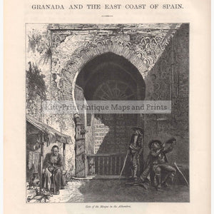 Antique Print Gate Of The Mosque In The Alhambra 1870 Prints