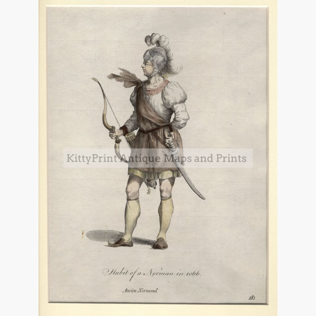 Antique Print Habit of a Norman in 1066, Prints