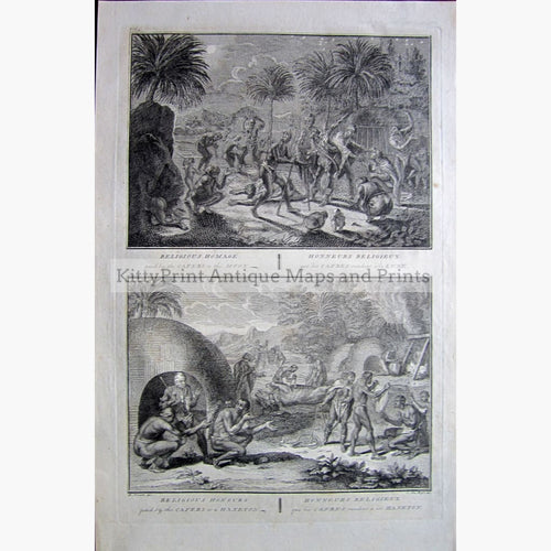Antique Print Homage by Cafers to the Moon,1734 Prints