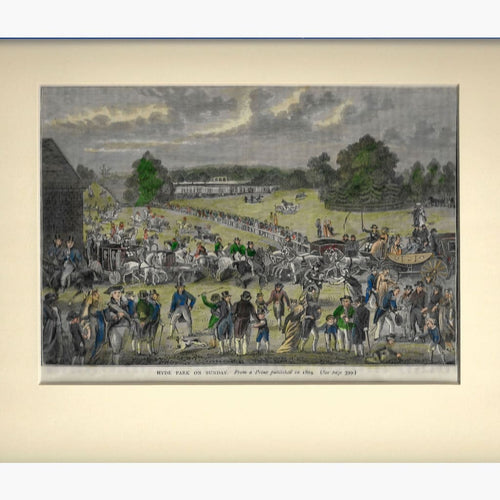 Antique Print Hyde Park on Sunday,1804 Prints