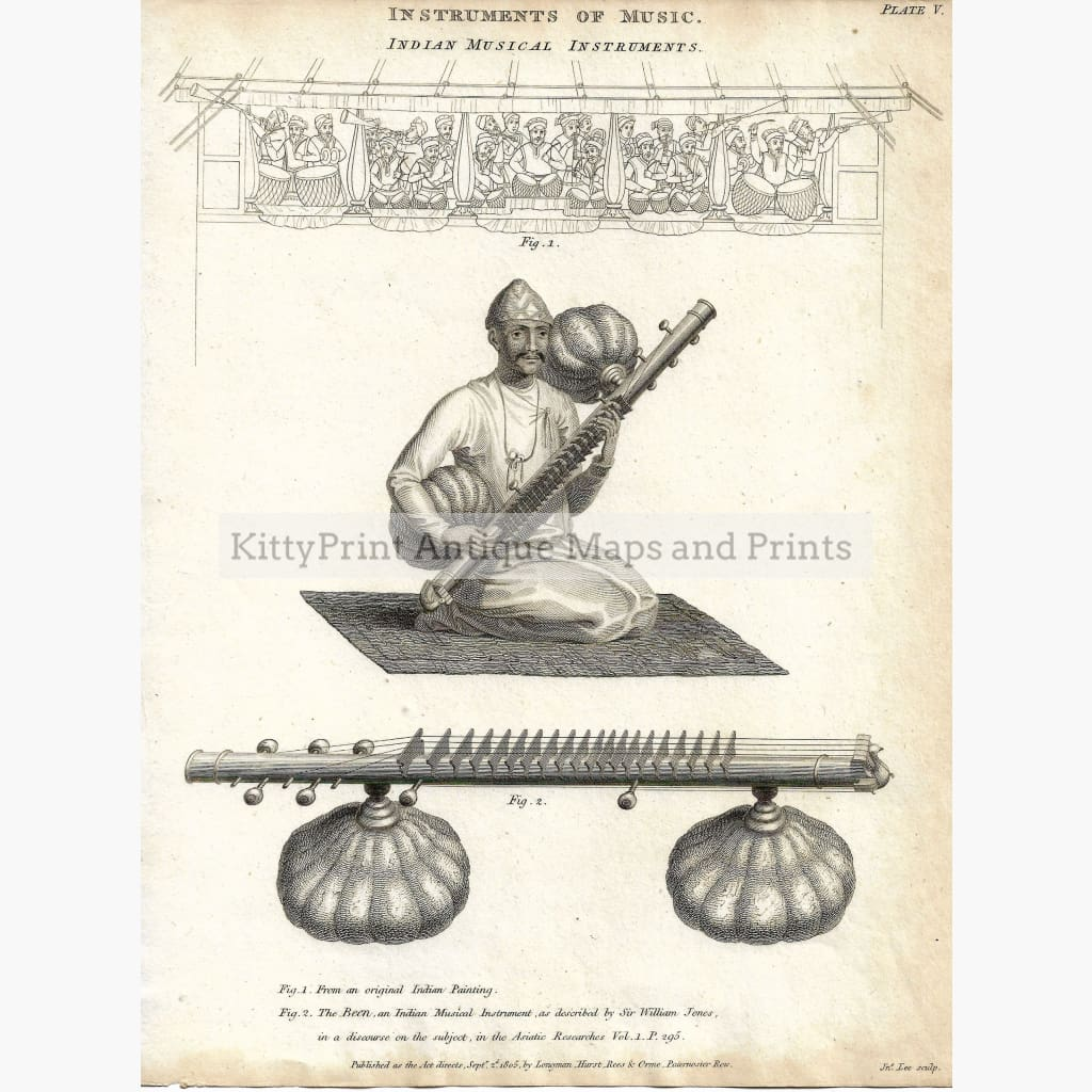 Antique Print Indian Musical Instruments 1805 Prints