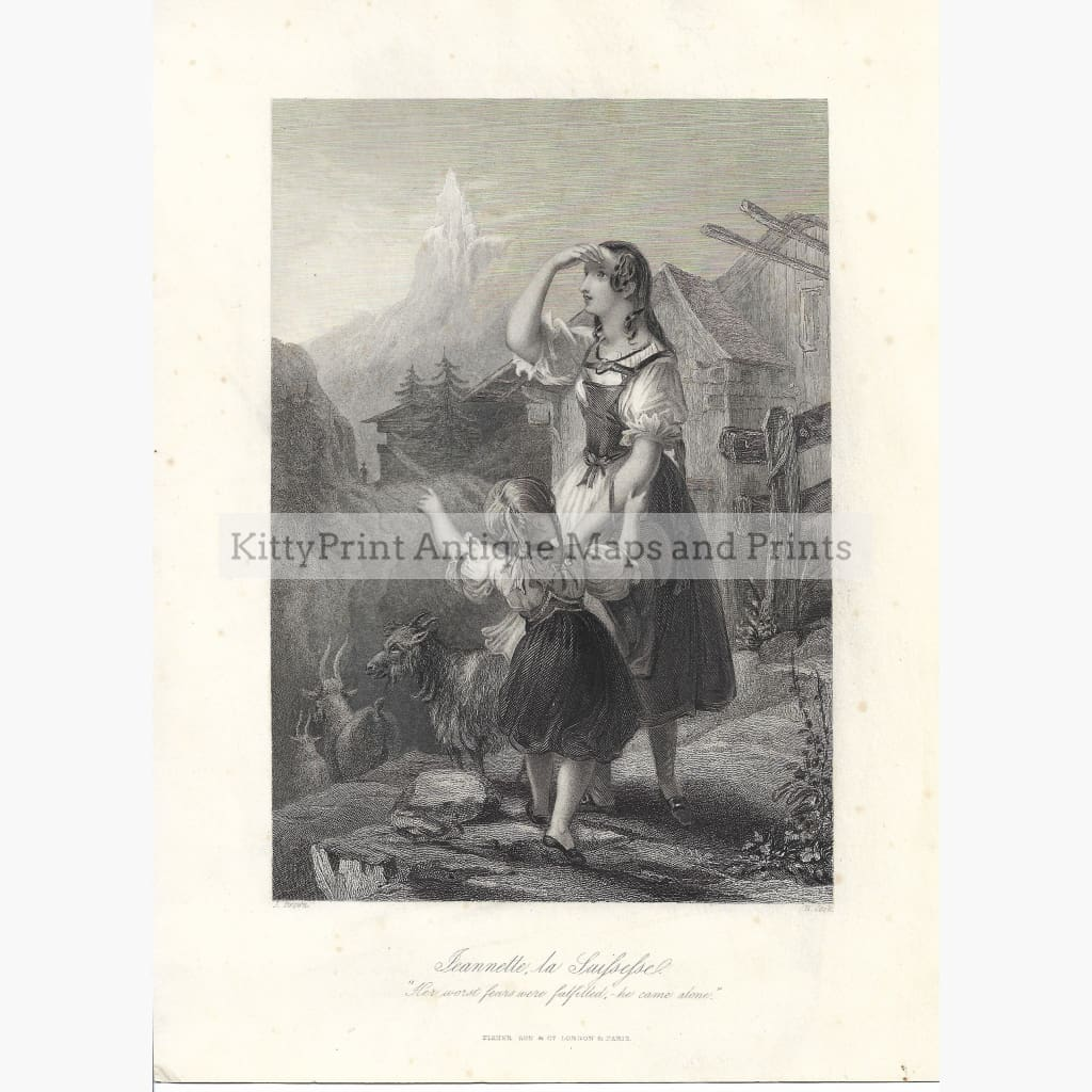 Antique Print Jeannette la Swissesse c.1840 Prints