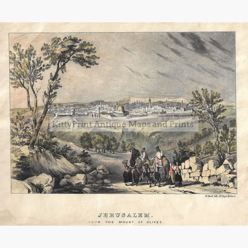 Antique Print Jerusalem from the Mount of Olives c.1838 Prints
