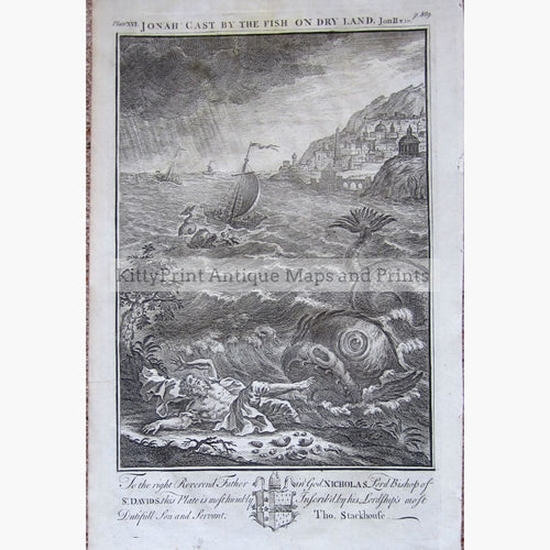 Antique print Jonah cast by the fish on dry land 1733 Prints