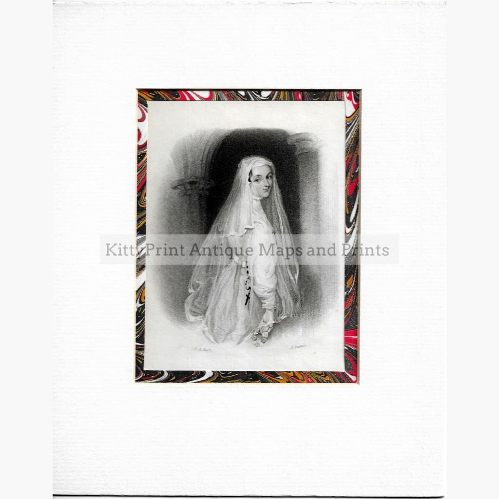 Antique Print Lady with Veil c.1840 Prints