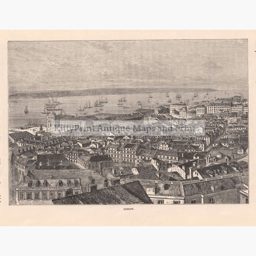 Antique Print Lisbon C. 1880 Prints
