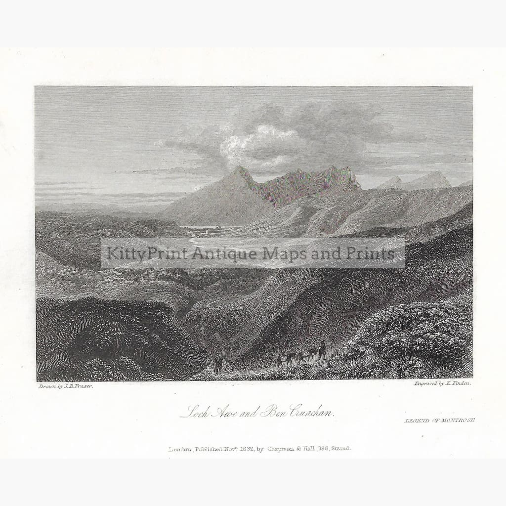 Antique Print Loch Awe And Ben Cruachan 1832 Prints