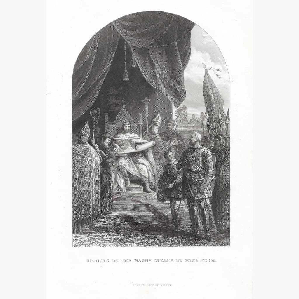 Antique Print Magna Carta c.1840 Prints
