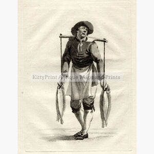 Antique Print Man selling Fish c.1750 Prints