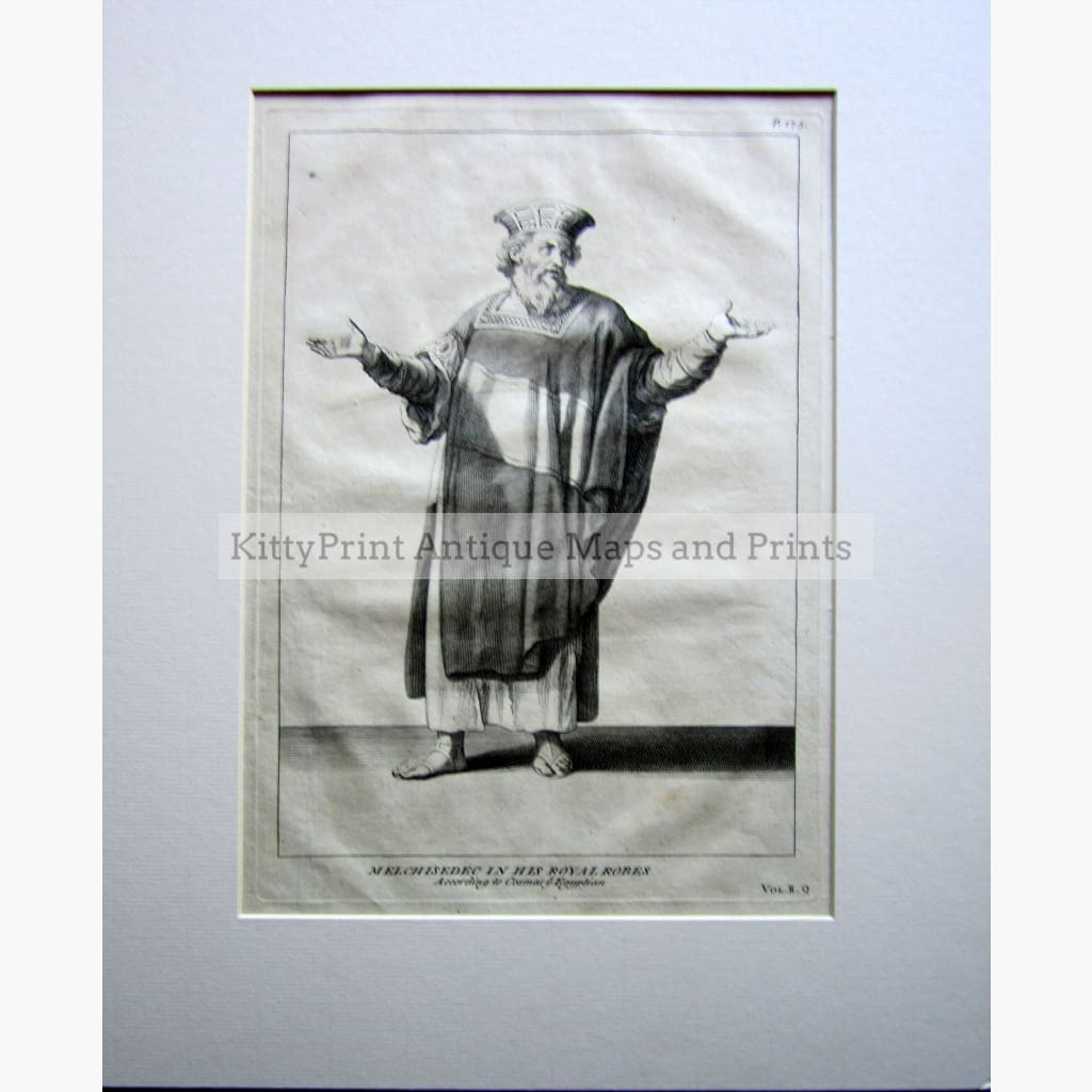Antique Print Melchisedec in his Royal Robes 1732 Prints