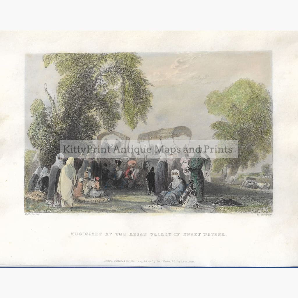 Antique Print Musicians at the Asian Valley of Sweet Waters 1838 Prints