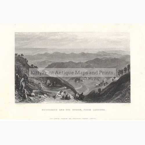 Antique Print Mussooree and the Dhoon from Landour 1854. Prints