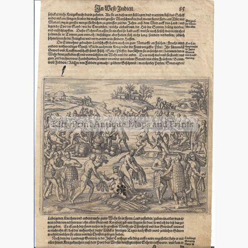 Antique Print Natives in West Indies 1590 Prints
