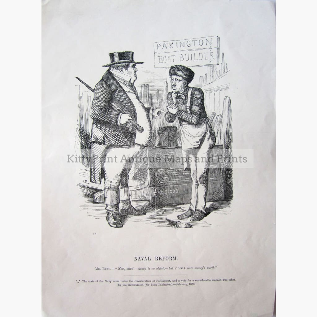 Antique print Naval Reform 1859 Prints