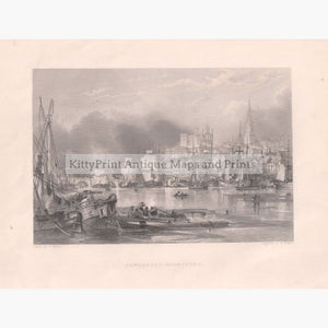 Antique Print Newcastle - Upon - Tyne 1842 Prints