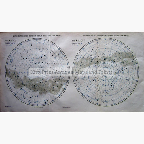 Antique Print North And South Star Maps To 25% Declination 1905 Prints