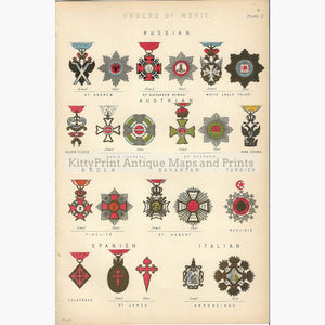 Antique Print Orders of Merit 1881 Prints
