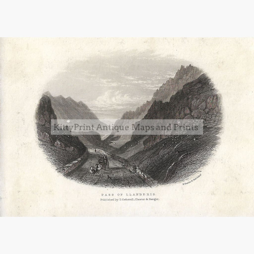 Antique Print Pass of Llanberis 1855 Prints