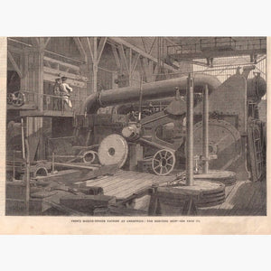 Antique Print Penn's Marine-Engine Factory 1865 Prints
