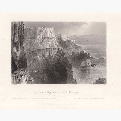 Antique Print Plaiskin Cliff Near The Giant Causeway 1842 Prints