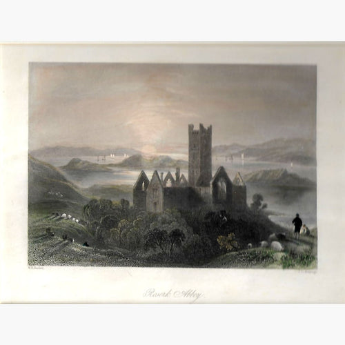 Antique Print Roserk Abbey County Mayo 1842 Prints