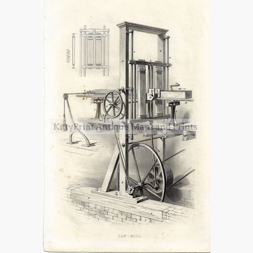 Antique Print Saw-Mill 1854 Prints