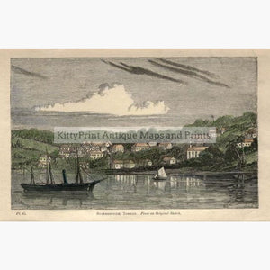 Antique Print Scarborough Tobago 1870 Prints