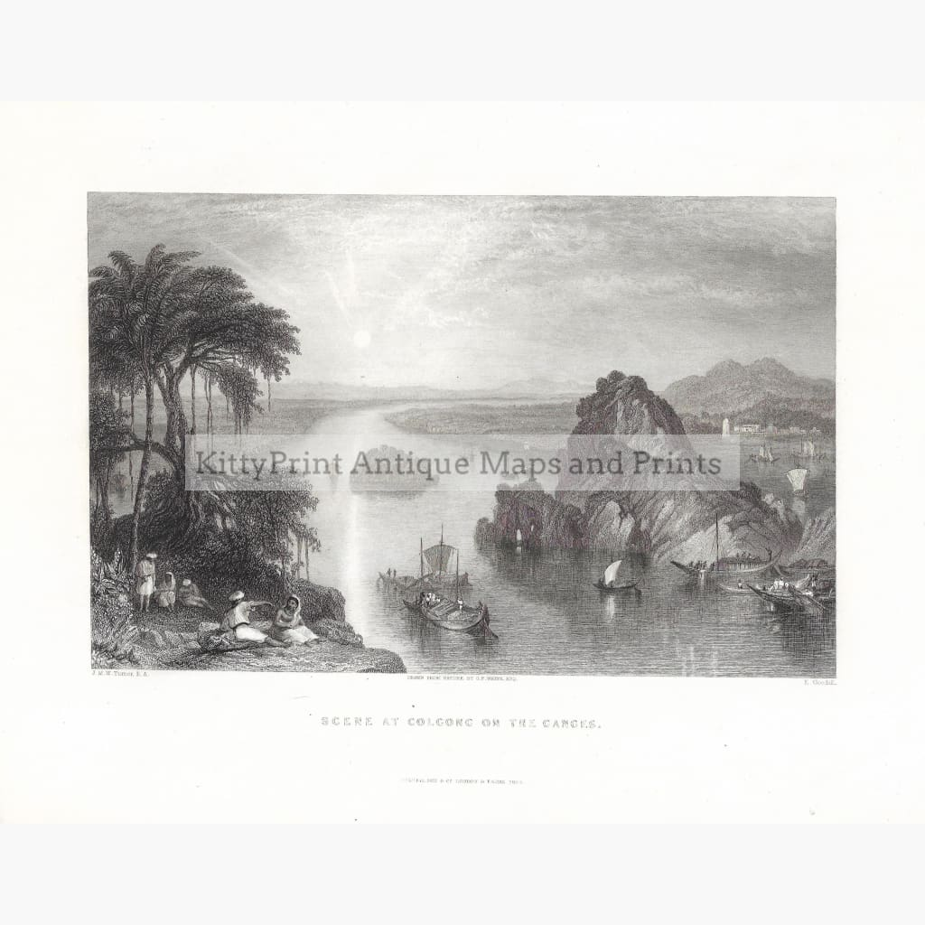 Antique print Scene at Colgong on the Ganges 1836. Prints