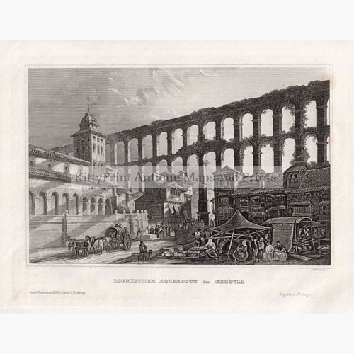 Antique Print Segovia Aquaduct 1859 Prints