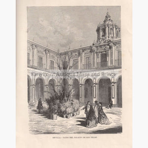 Antique Print Sevilla - Patio Del Palacio De San Telmo 1874 Prints