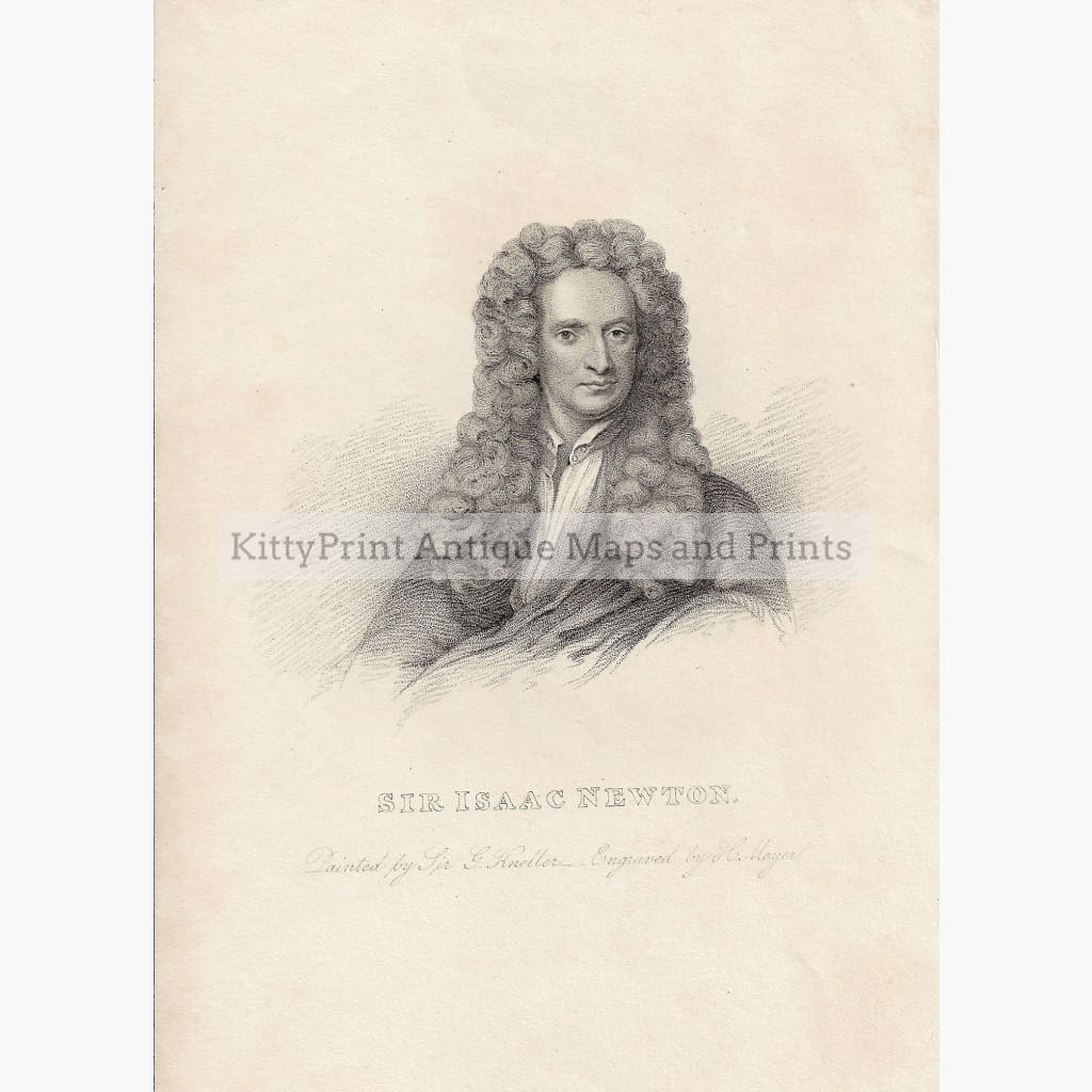 Antique Print Sir Isaac Newton c.1840 Prints