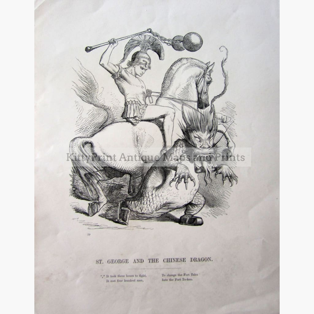 Antique Print St.George and the Chinese Dragon 1859 Prints
