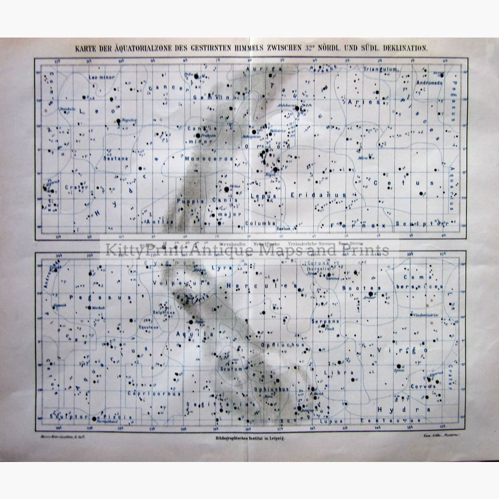 Antique Print Stars In Equatorial Zone Between 32% North And South Declination 1907 Prints