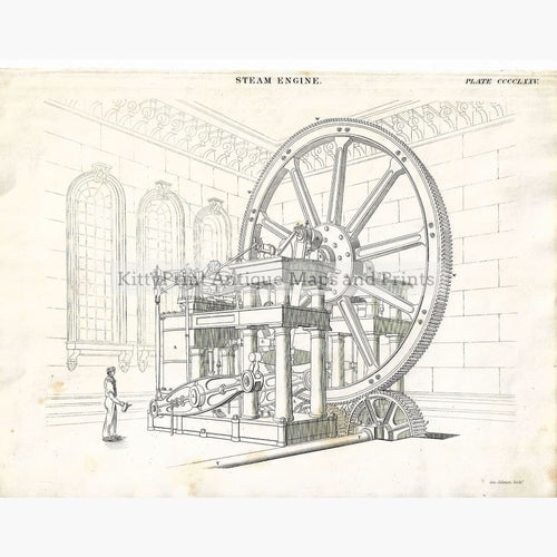 Antique Print Steam Engine 1842 Prints