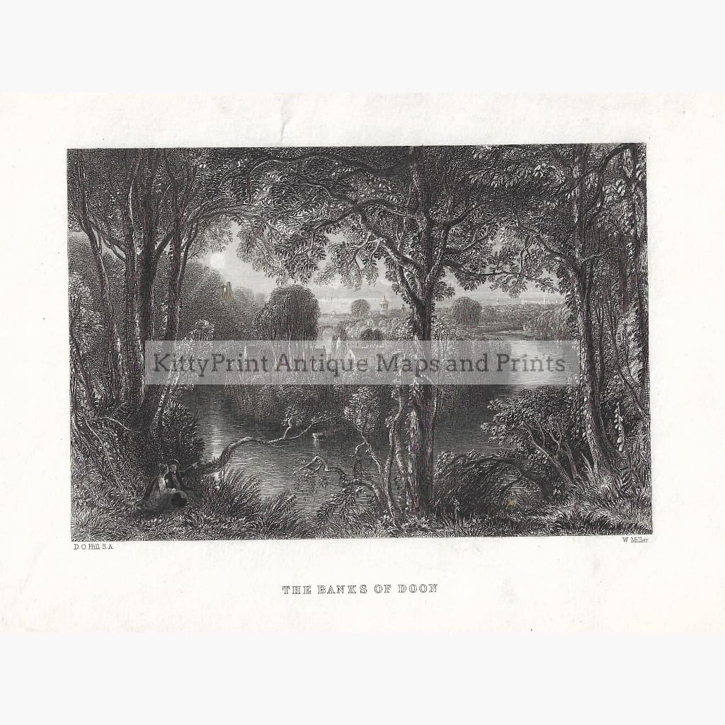 Antique Print The Banks of Doon 1860 Prints