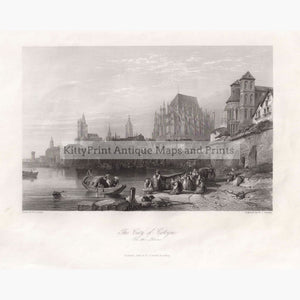 Antique Print The City Of Cologne 1840 Prints