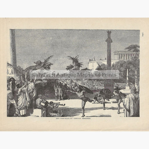Antique Print The Foot-race by Grecian Athletes c.1880 Prints