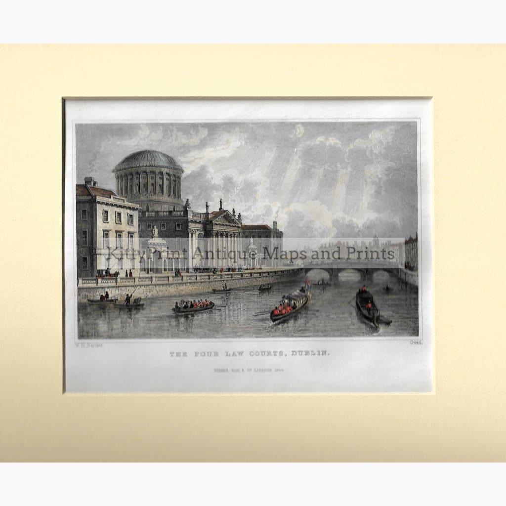 Antique Print The Four Law Courts Dublin 1844 Prints