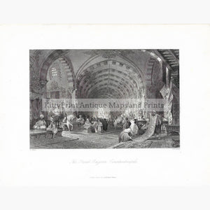 Antique Print The Great Bazaar Constantinople 1838. Prints