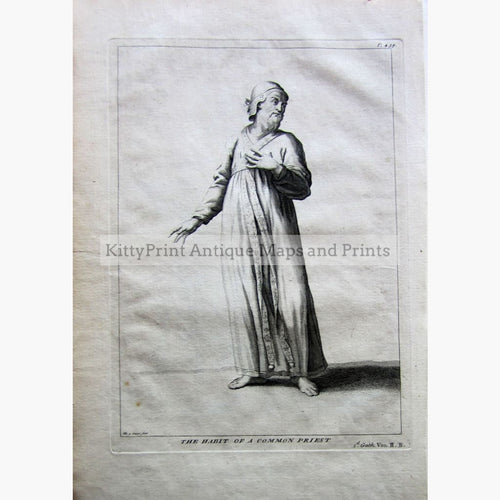 Antique Print The Habit of a Common Priest 1732 Prints