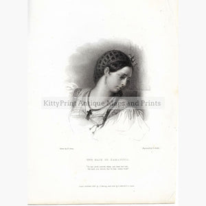 Antique Print The Maid of Saragoza 1832 Prints